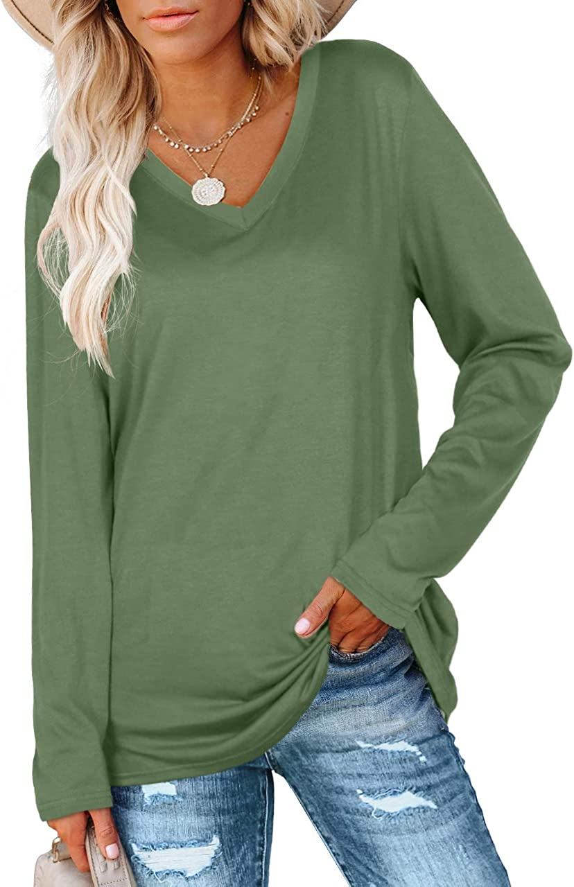 SAMPEEL Womens Fall Long Sleeve Tops Casual Tee Shirts Plus Size Clothes