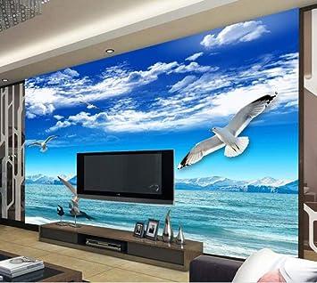 WORINA Papel tapiz de ize, cielo azul, nube blanca, nieve, montaña, vista al mar, paloma blanca, televisor de pared, papel pintado decorativo de pared, 250 x 175 cm (98.4 por 68.9 pulg.):