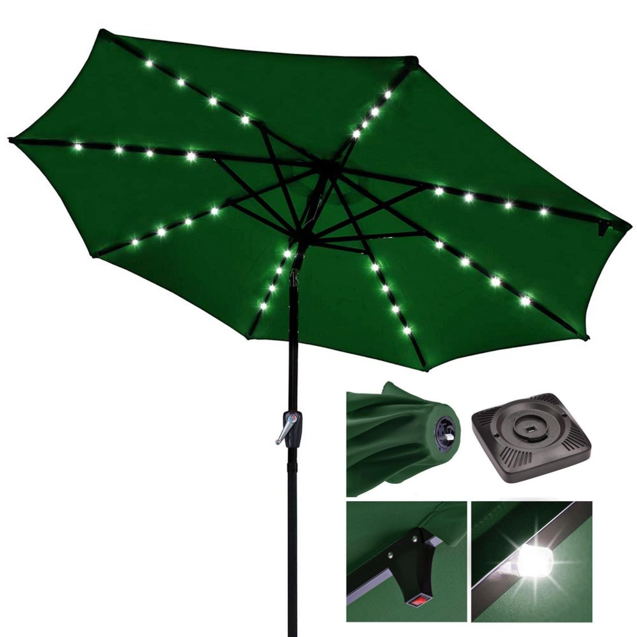 9ft Outdoor Patio Solar Power LED Aluminium Umbrella Sunshade UV Blocking Tilt Hand-Crank - Green #914