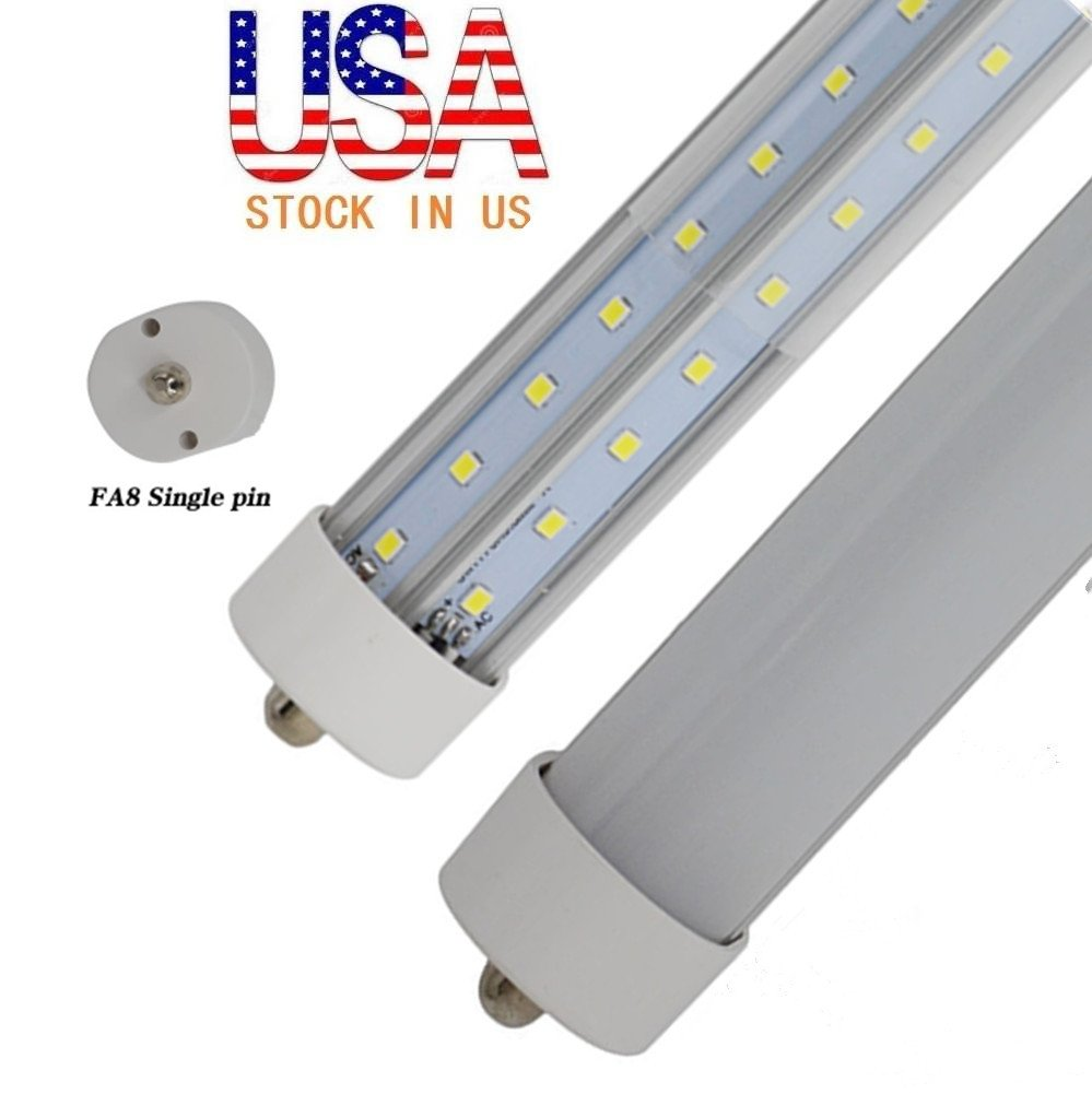 25X 8ft 90Watt T8 LED Tube, Dual-End Powered, Easy Ballast Removal Instal,96'' FA8 Single Pin Light Bulb 8500LM Lamps 6000K 5000K 4000K (10Pack Clear /Milky Cover) Lens,US SHIP (4000K Milky Cover)