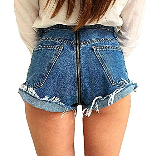 Pantalones vaqueros de mezclilla recta para mujer con cremallera trasera Pantalones de mezclilla informal de cintura alta para mujer Pantalones de mezclilla sexy sexy casual Azul
