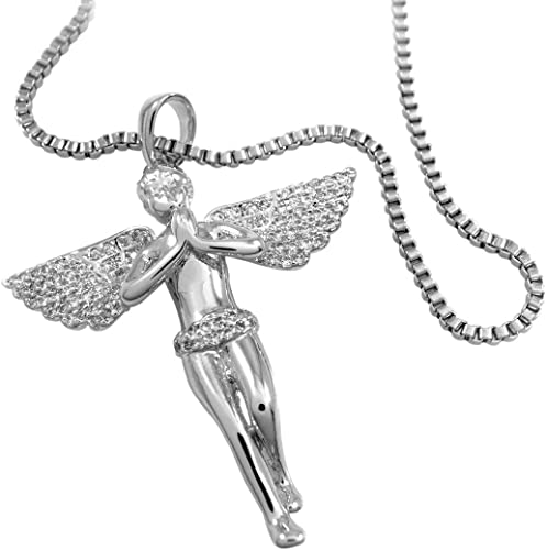 Made In USA LIFETIME WARRANTY 18K Gold Plated Rope Chain With Angel Pendant