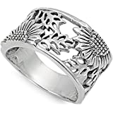 CHOOSE YOUR COLOR Sterling Silver Filigree Sunflower Ring
