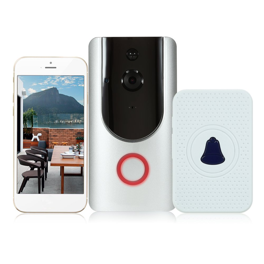 OWSOO 720P WIFI Visual Intercom Door Phone Wireless Video Doorbell With Indoor Ding-Dong Door Bell HD PIR Motion Sensor Smart Video Doorphone Voice Control Remote Control Built in 8G TF Card, Silver