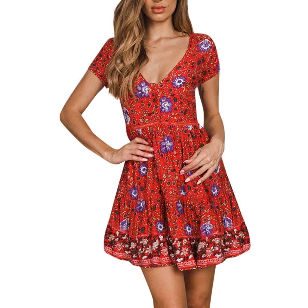 B/öhmisches Kurzarm Kleid f/ür Womens Boho Holiday Beach Mini Bandage Kleid Damen Floral gekr/äuselten V-Ausschnitt Party UFACE 2019 Damen Fr/ühling Retro Rock