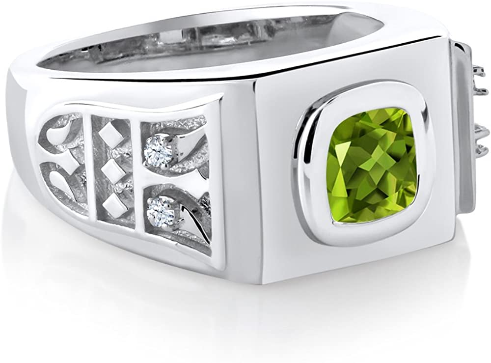 Available in,9,10,11,12,13 Available 8,9,10,11,12,13 Gem Stone King 2.49 Ct Green Peridot Blue Simulated Sapphire 925 Sterling Silver Mens Ring