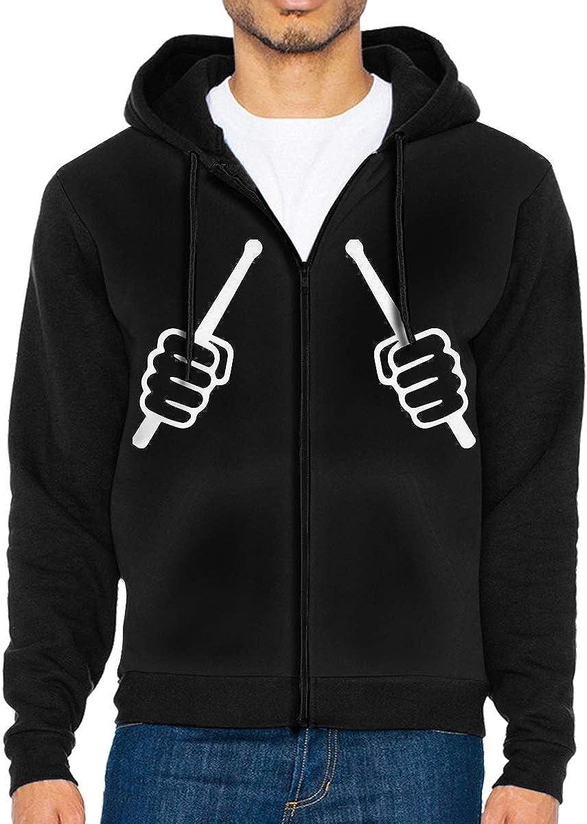 LD6DBGK Drum Sticks Mens Zip Front Hooded Fleece Jacket