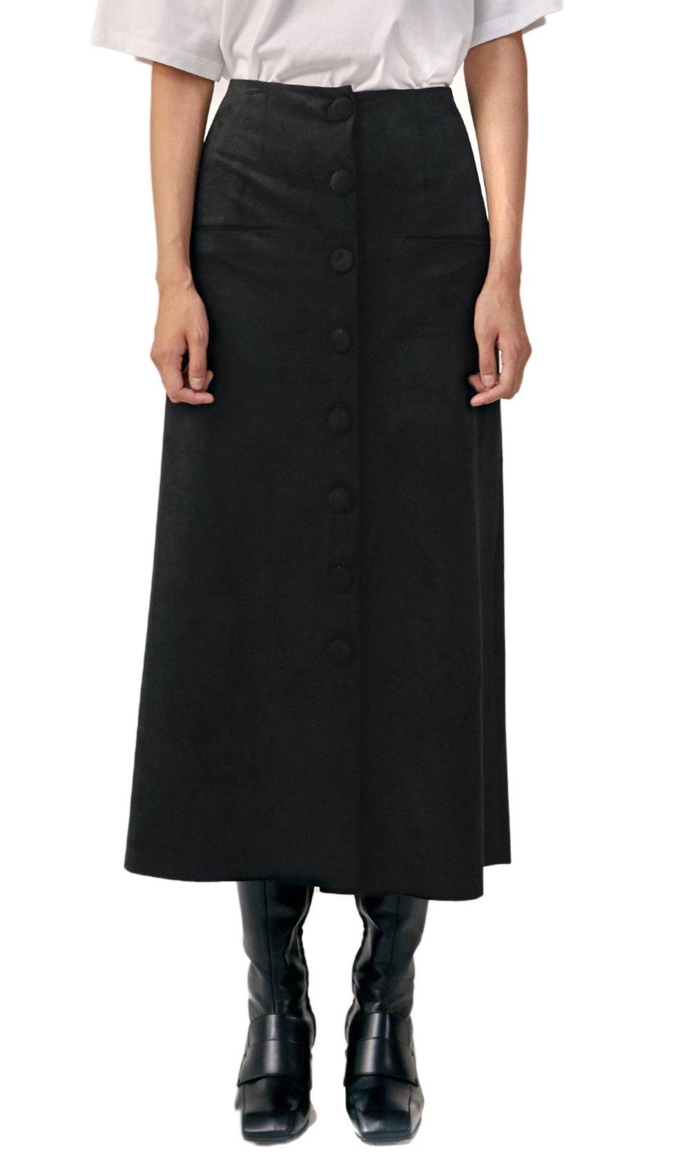 LOW CLASSIC Women's Black Button Detailed Long Suede A-Line Skirt S Black