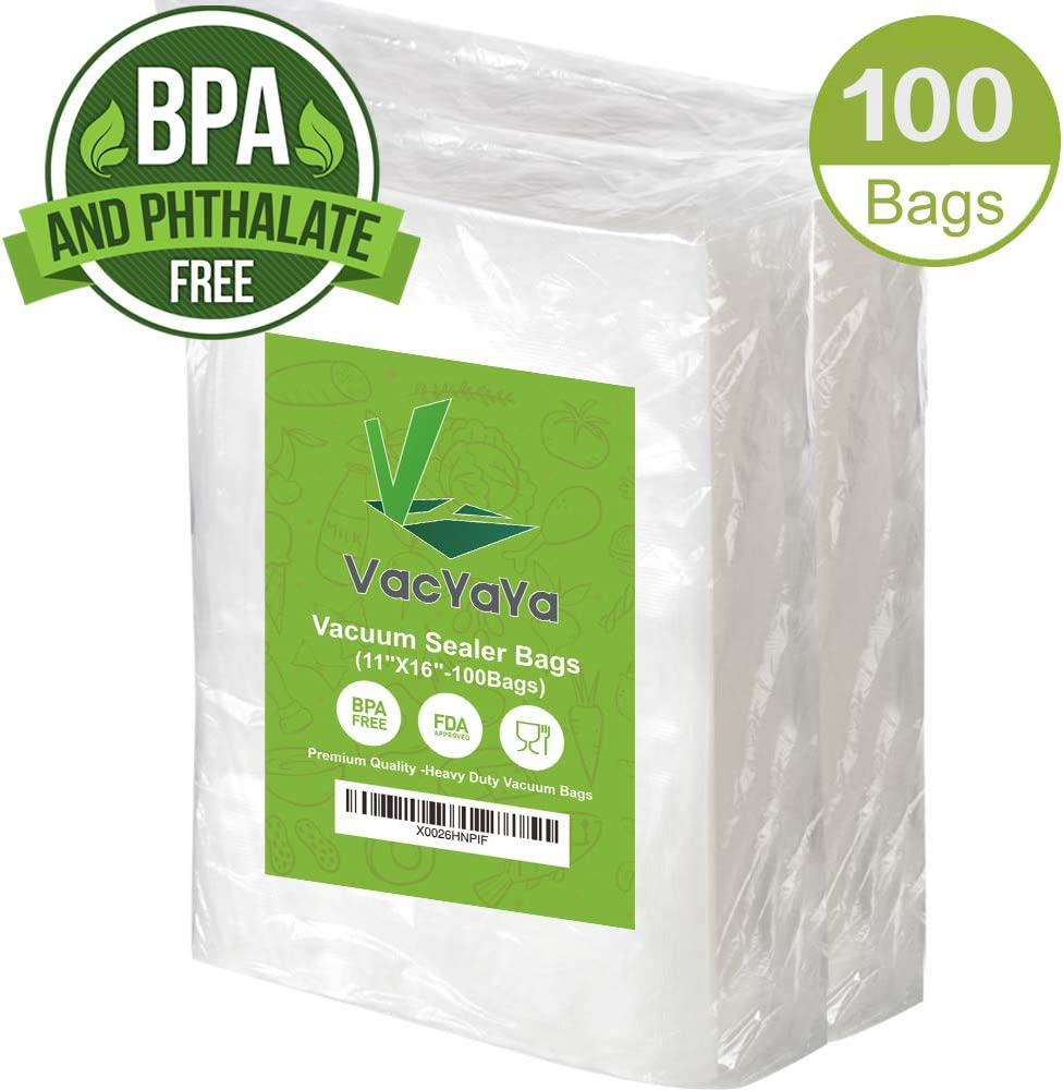 Premium!100 Gallon 11 x 16 Inch Vacuum Sealer Storage Bags Size for Food Saver,Vac Seal a Meal Bags BPA Free, Heavy Duty Commercial Grade Freezer & Sous Vide Vaccume Safe PreCut Bag