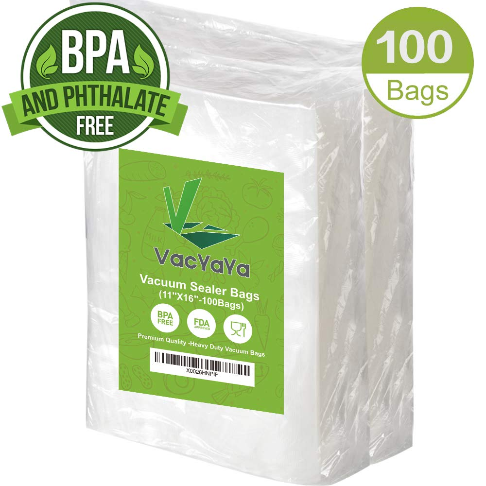 Premium!100 Gallon 11 x 16 Inch Vacuum Sealer Storage Bags Size for Food Saver,Vac Seal a Meal Bags BPA Free, Heavy Duty Commercial Grade Freezer & Sous Vide Vaccume Safe PreCut Bag by VacYaYa