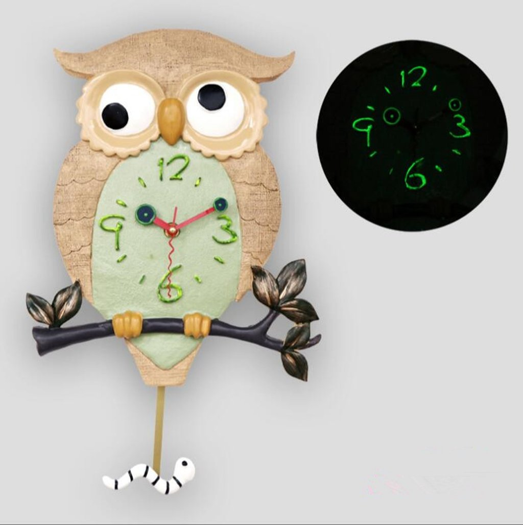 Sucastle Ultra-quiet, personality, wall clock, fashion, home, creative, watches, owls, swing, luminous, wall clock, WYFC