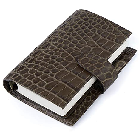 Moterm Leather Personal Planner Binder - Personal Size Croc Print Organiser Planner, 7.5 x 5.3 Inches 6 Rings Binder Planner with Lined Refills ...