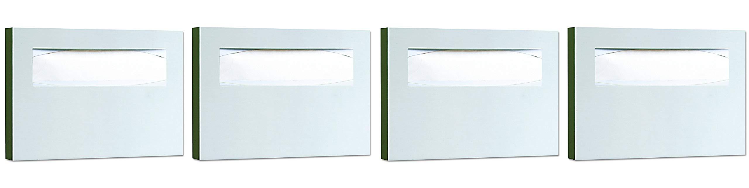 Bobrick 221 Stainless Steel Toilet Seat Cover Dispenser, 15 3/4 x 2 x 11, Satin Finish (Pack of 4)