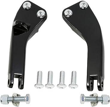 XFMT Black Passenger Foot Peg Support Kit Compatible with Harley Dyna Super Glide Street Bob 2006-2017