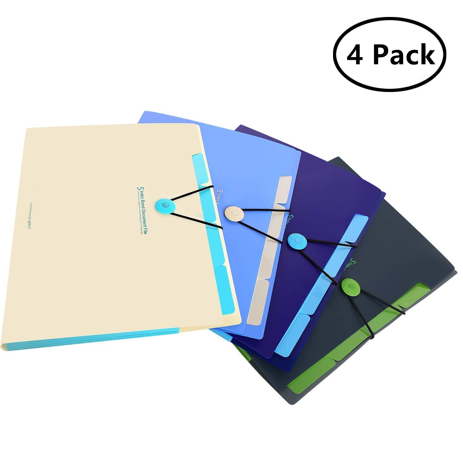 Skydue Expanding File Folders 5 Pockets Letter A4 Accordion Document Paper Organizer, Pack of 4