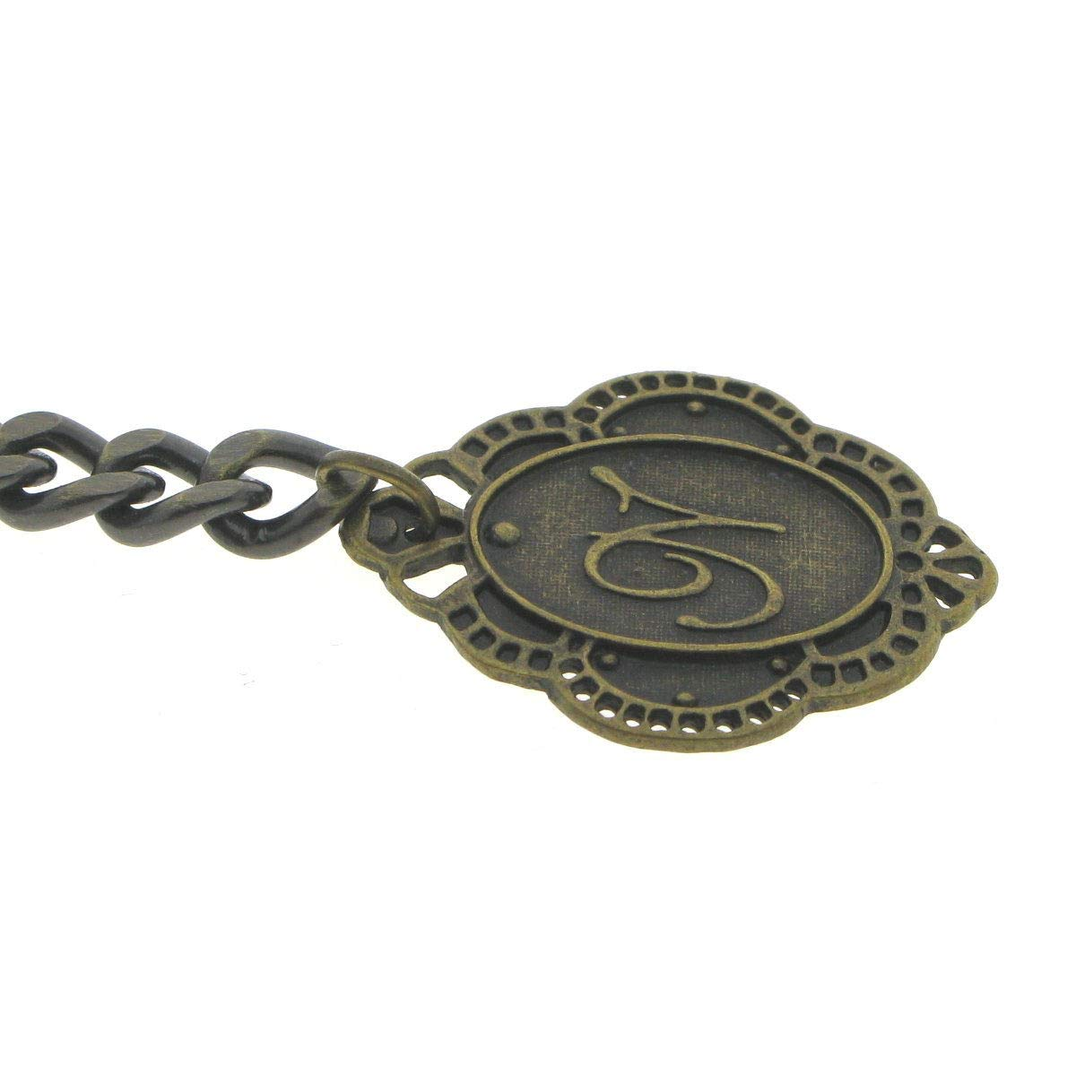 Albert Chain Pocket Watch Curb Link Chain Antique Brass Color + Alphabet N Initial Letter Fob T Bar AC84 by watchvshop (Image #6)