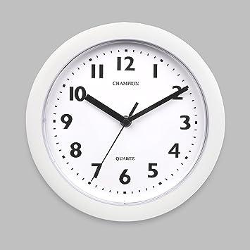 Reloj de pared de 23 cm de diámetro para cocina; color negro, Blanco, 22,9 cm: Amazon.es: Hogar