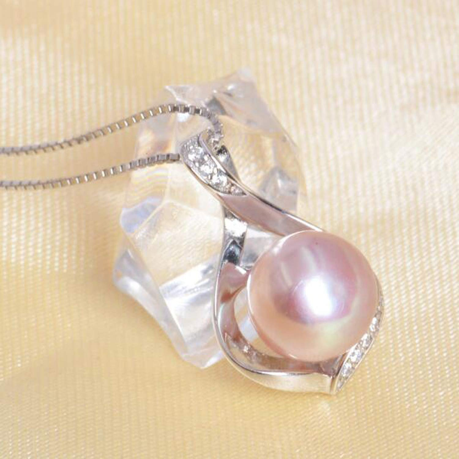 SVAT6D Real Natural Freshwater Pearls Necklace /& Pendants 925 Sterling Silver 9-10mm Pearl Jewelry,White,9-10mm,45cm