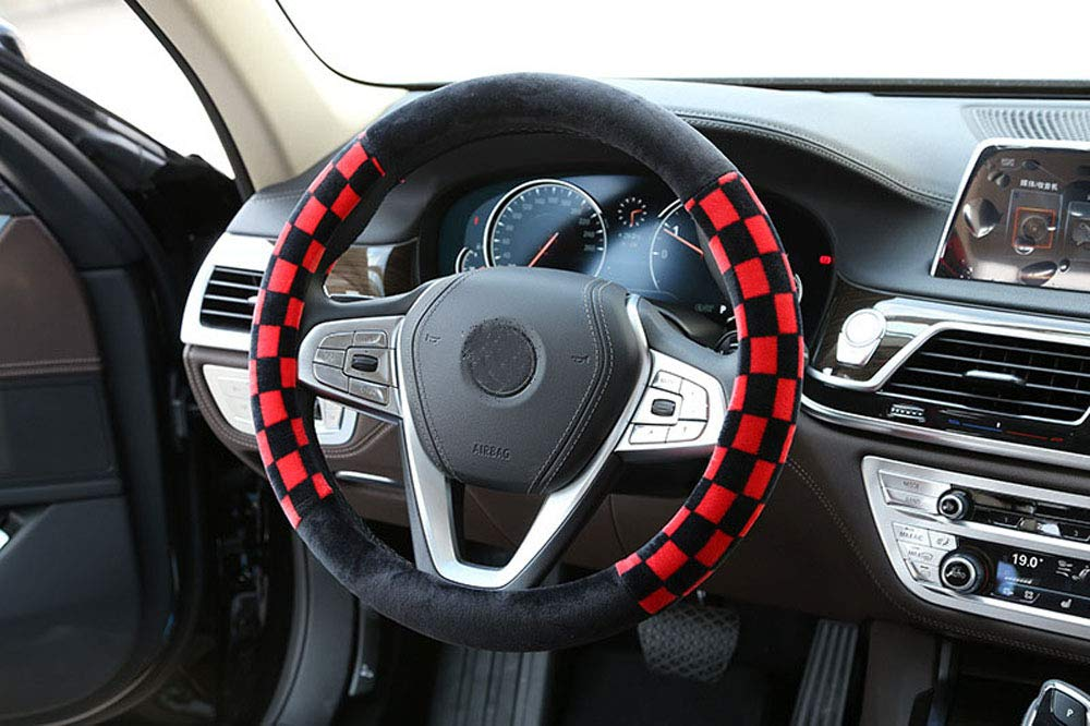 Mayco Bell Unisexs Car Steering Wheel Cover Four Seasons Universal 15 Inch No Smell Comfort Durability checked fur steering wheel case Black White
