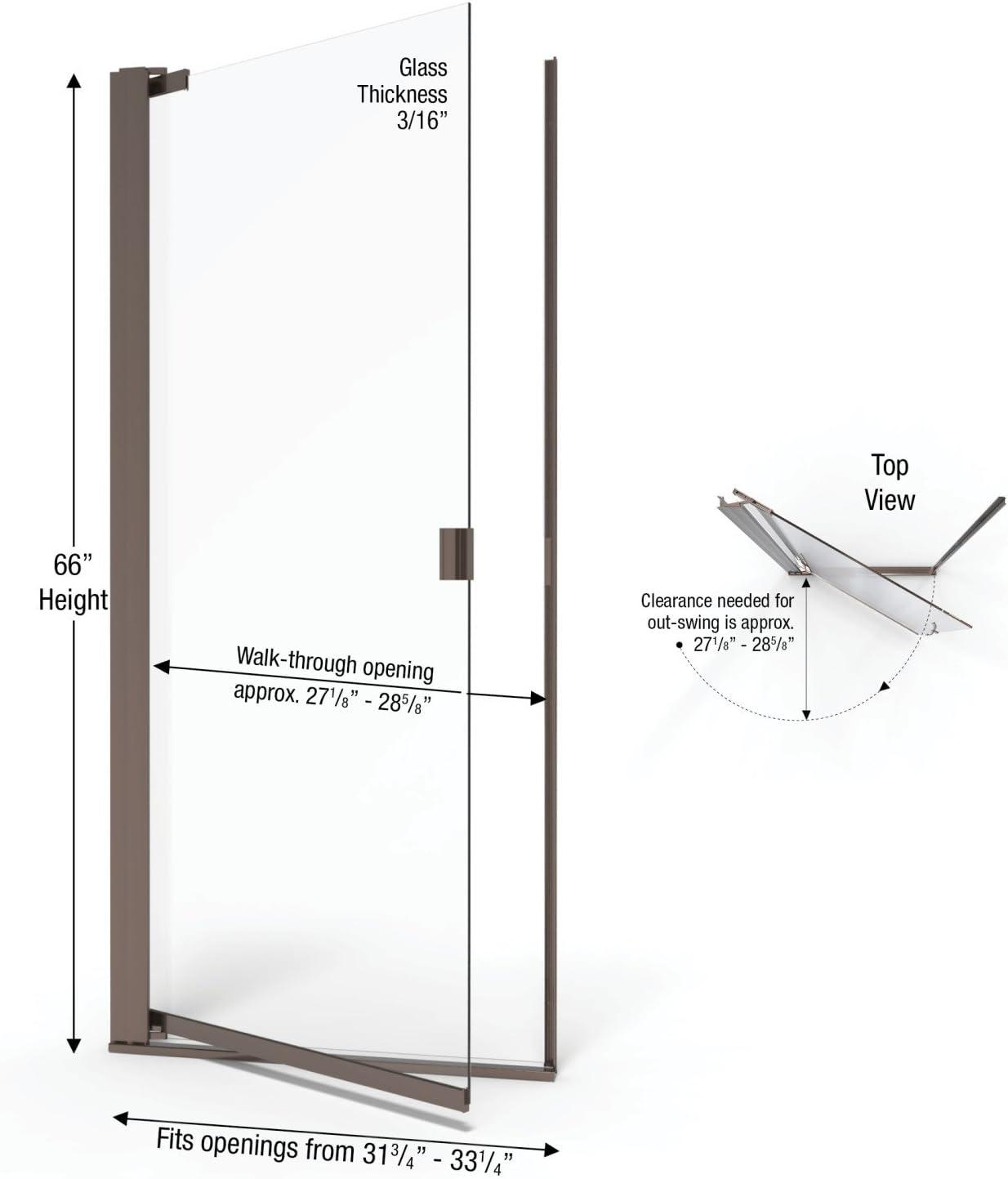 width Clear Glass Semi-Frameless Pivot Shower Door Brushed Nickel Finish Basco Armon 31.75 to 33.25 in