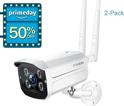 FREDI Sistema de cámara de Seguridad inalámbrica, 1080p WiFi IP cámara de vigilancia WiFi al Aire Libre (Resistente a la Intemperie) (2 Unidades): Amazon.es: Bricolaje y herramientas