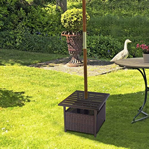 Giantex Patio Rattan Wicker Umbrella Side Table Stand With