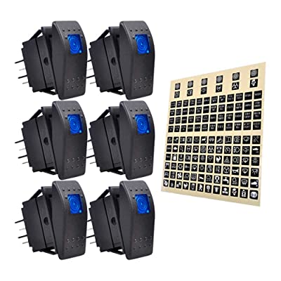 eFuncar 6Pcs 12V 24V Toggle Switch, 4Pin SPST ON Off Dashboard Rocker Switch, Waterproof LED Blue Lighted Rocker Switches for Car Truck Marine Auto Motorcycle with 1Pc Sticker Label Sheet: Industrial & Scientific