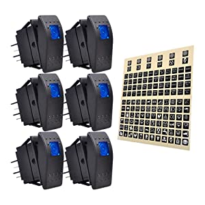 eFuncar 6Pcs 12V 24V Toggle Switch, 4Pin SPST ON Off Dashboard Rocker Switch, Waterproof LED Blue Lighted Rocker Switches for Car Truck Marine Auto Motorcycle with 1Pc Sticker Label Sheet