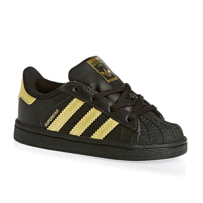 adidas Superstar Sneakers Baby Schuhe Unisex Schwarz mit gelben Streifen