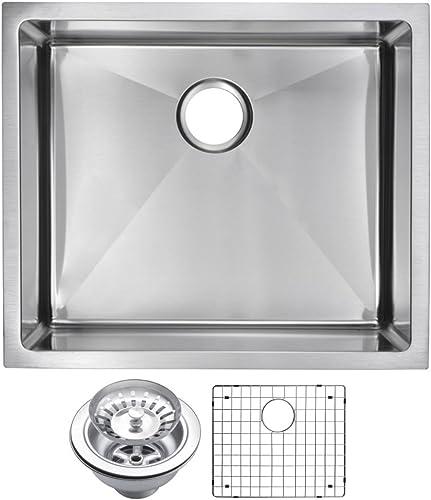 Water Creation SSSG-US-2320B 23 X 20 15 mm Corner Radius Single Bowl Stainless Steel Hand Made Undermount Kitchen Sink with Drain and Strainer