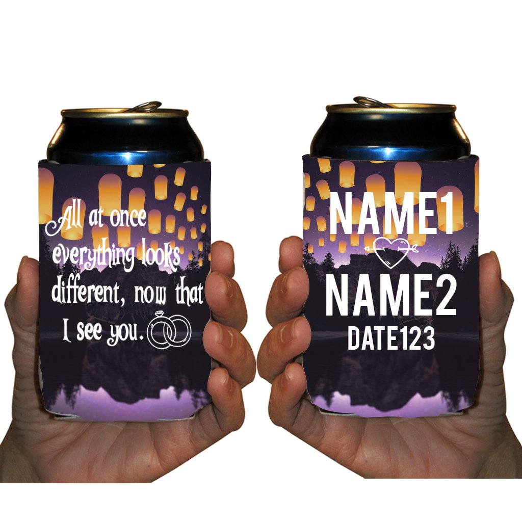 Custom Wedding Can Cooler- All at once everything looks different, now that I see you Can Cooler (150)