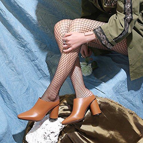 Sandales épais En MUYII Chaussures Cuir Talons Caramel Hauts Femmes Pantoufles Talons Pour à Bfwv1qXwg
