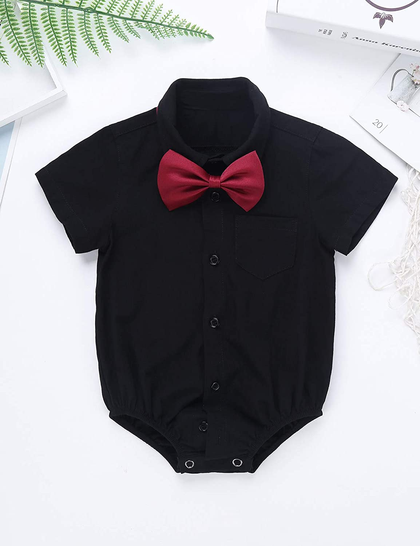 Alvivi Infant Toddler Baby Boys Short//Long Sleeves Formal Dress Shirt Bodysuit Romper Wedding Party Outfits