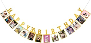 Photo Banner for 30th Birthday Decorations - 30th Birthday Gifts for Women, Milestone Photo Banner for Birthday Party, Dirty 30 Birthday Party Supplies (30TH Banner Gold)