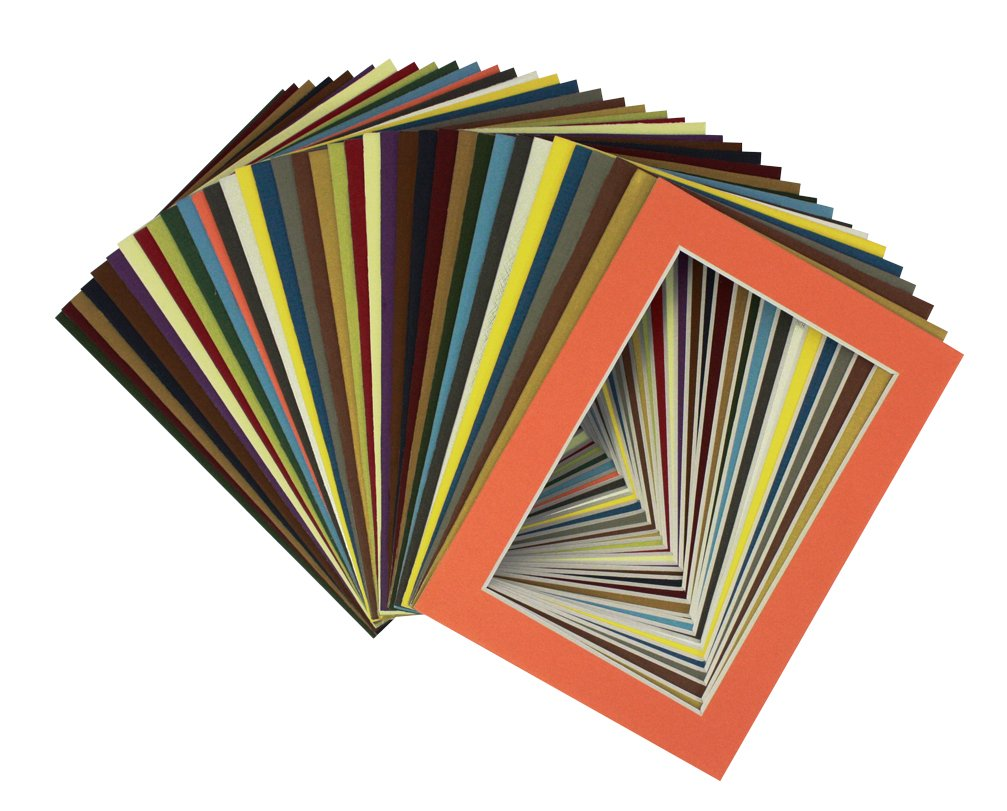 Golden State Art, Pack of 100 Pcs of 5x7 Mix Color Picture Mats Mattes Matting for 4x6 Photo + Backing + Bags PM72