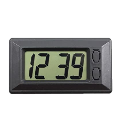 Dolity Reloj Digital LCD Pantalla con Pegatina Adhesiva Montado Tablero de Coche