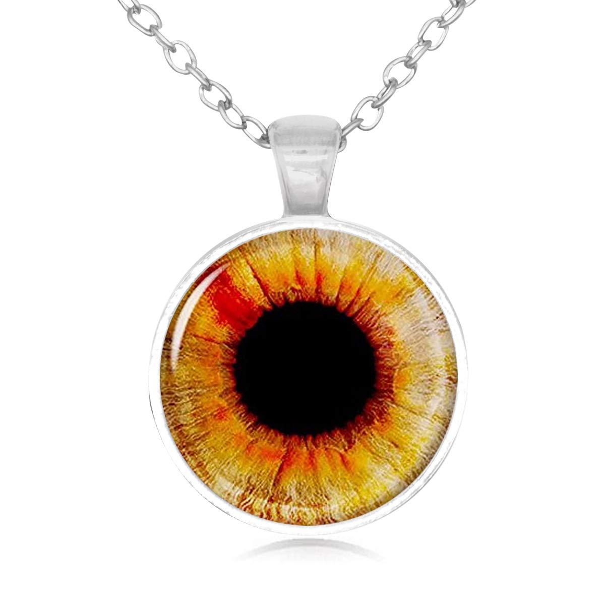Lightrain Orange Pupil Eyeball Pendant Necklace Vintage Bronze Chain Statement Necklace Handmade Jewelry Gifts