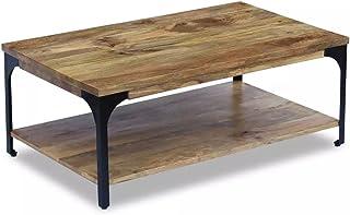 Lingjiushopping tavolo da salotto in legno di mango 100x 60x 38cm con un rack sotto il tavolo materiale: Legno di Mango e cassaforte cornice di acciaio
