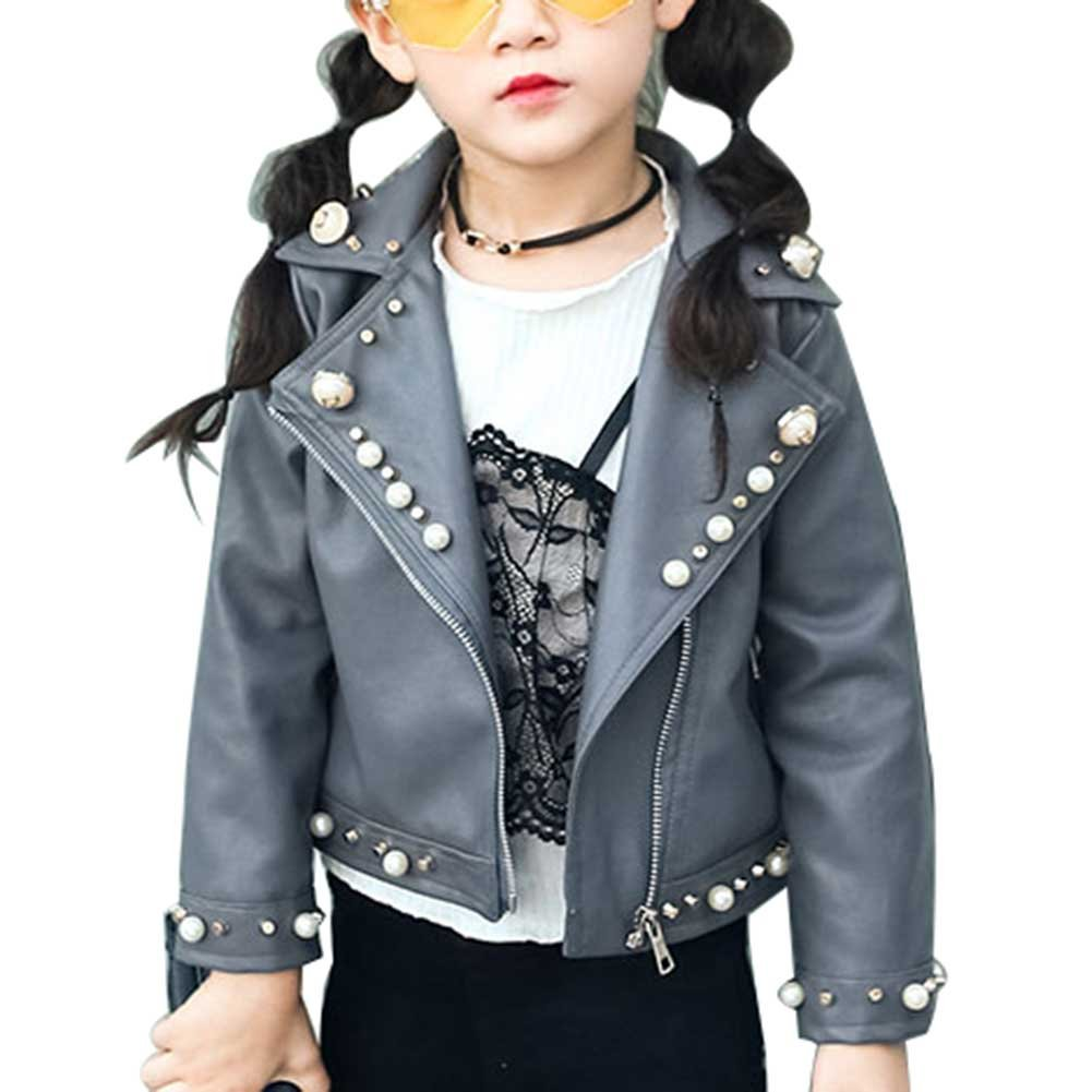 SLLSKY Toddler Girl's Hot PU Leather Faux Pearls Jackets with Zipper Pocket