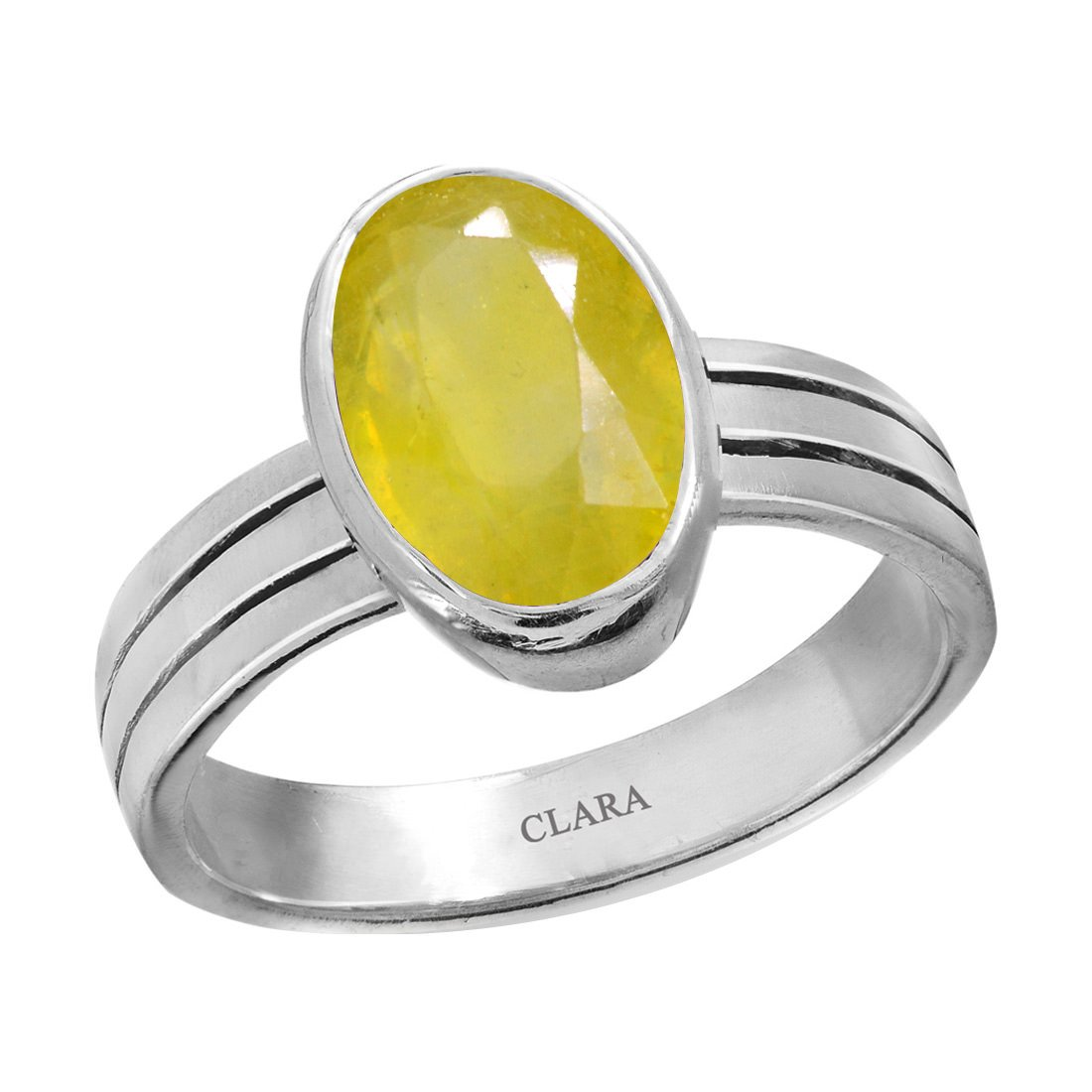 Clara Certified Yellow Sapphire (Pukhraj) 5.5cts or 6.25ratti original stone Stunning Sterling Silver Astrological Ring for Men and Women by Clara
