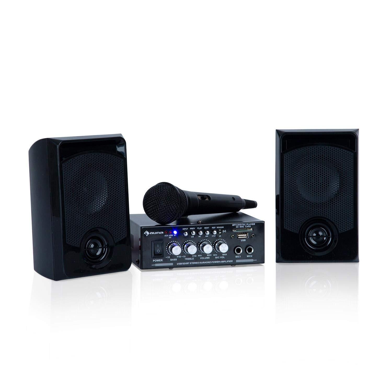 Auna Karaoke Star 3 Karaoke-Set • Sistema Karaoke • Impianto Karaoke • 2 x 75 W max. • Bluetooth • Ingresso USB • Compresi Microfoni e Cavi per Altoparltanti • Colore Nero JO2-90300-rjtn