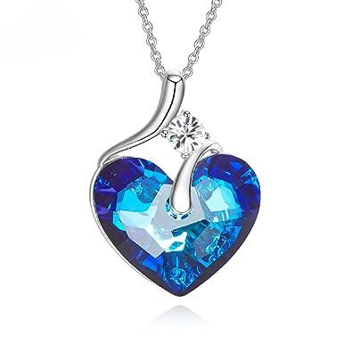 Cadeau Pendentif Avec Cristal Swarovski Yezou Collier Coeur Femme YeH2IEWD9