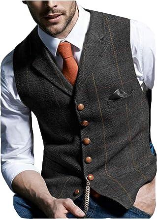 Wedding Plaid Soft Wool Tweed Waistcoat