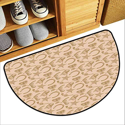 Engraving Western (DILITECK Non-Slip Door mat Western Engraving Style Star Boot and Money Revolver Line Pattern Worn Out Dotted Backdrop Antifouling W36 xL24 Tan Brown)