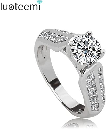 Dudee Slyq Jewelry Classic women Round cubic zirconia engagement rings