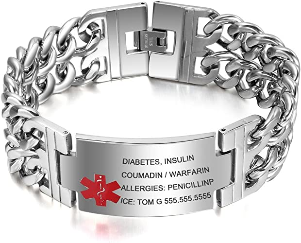 Large Medical Alert ID Mens Stainless Steel Replacement Bracelet