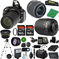 Nikon D5300 - International Version (No Warranty), 18-55mm f/3.5-5.6 DX VR, Nikon 55-200mm f4-5.6G ED DX, 2pcs 16GB Memory, Case, Wide Angle, Telephoto, Battery, Charger