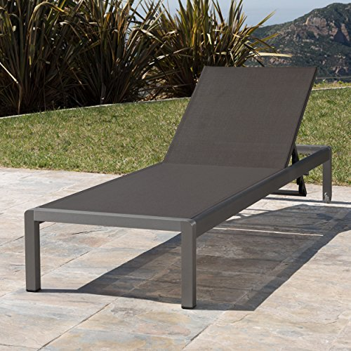 Crested Bay Patio Furniture | Outdoor Grey Aluminum Chaise Lounge with Dark Grey Mesh - Patio Mesh