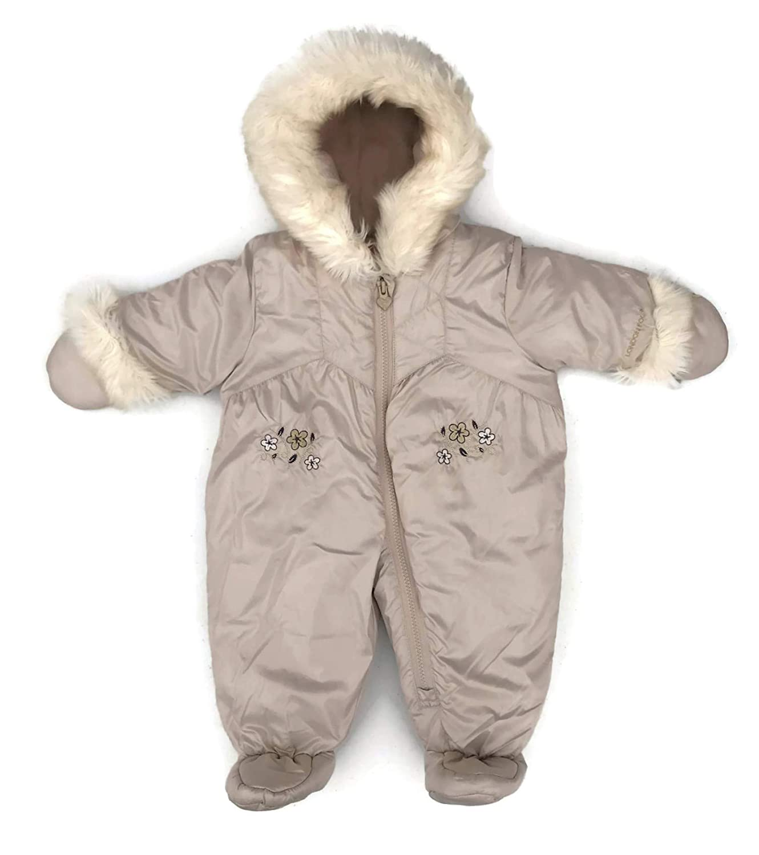 London Fog Baby Girls Sweet Quilted Faux-Fur Trimmed Snowsuit, One Piece, Beige Beige (3-6 Months)