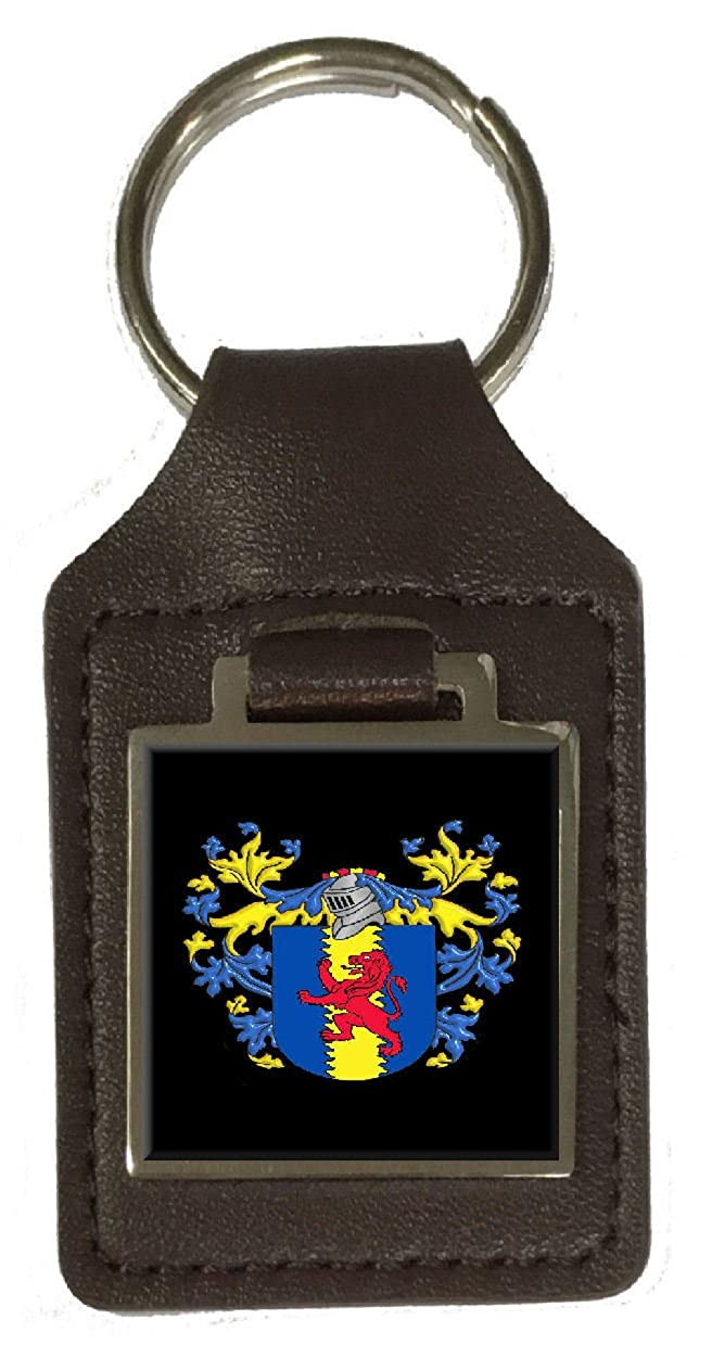 Colman Family Crest Surname Coat Of Arms Brown Leather Keyring Engraved